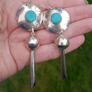 Turquoise Sterling Silver Handcrafted Earrings